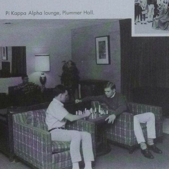 Brothers playing Chess in the   Pi Kappa Alpha lounge  - circa 1965